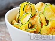 Рецепта Пържени тиквички с хрупкава коричка в панировка от галета и брашно
